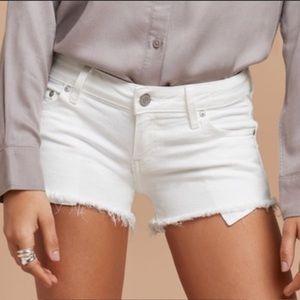 Aritzia Talula White Denim Shorts w/ Fray Bottom